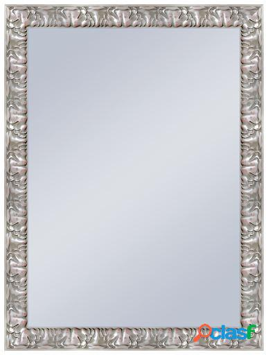 Wellindal Espejo decorativo barroco en plata 100x40