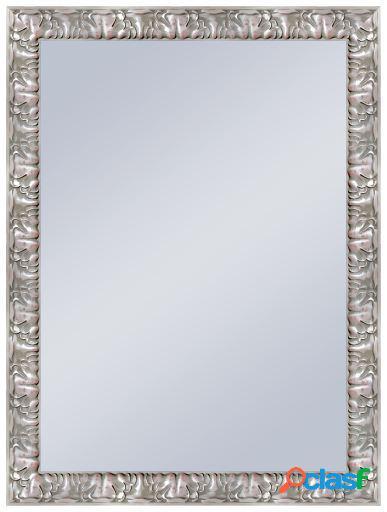 Wellindal Espejo decorativo barroco en plata 50x70