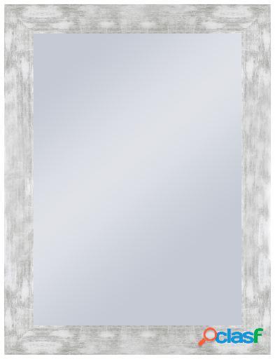 Wellindal Espejo decorativo con moldura lisa blanco-plata