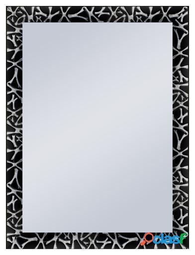Wellindal Espejo decorativo negro detalle en plata 60x90