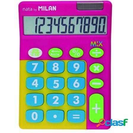 Calculadora milan mix rosa 10 digitos - alimentacion dual