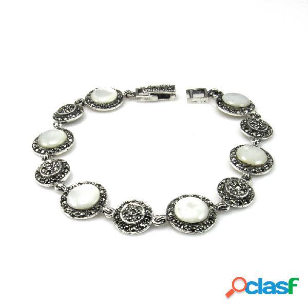 Pulsera de plata vieja círculos decorados con nácar y