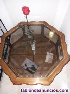 Vendo mesa salón redonda de madera/cristal