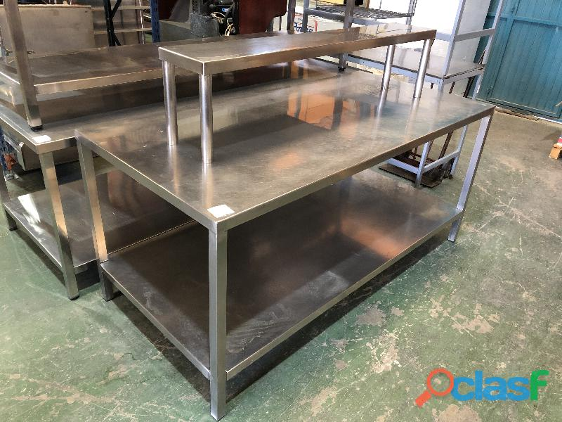 Mesa de 2 alturas de acero inox