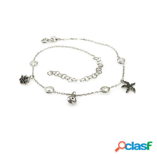 Pulsera tobillera plata rodiada con estrella y corona