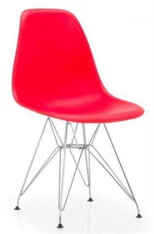 Silla PARIS-CR-RO, cromada, polipropileno rojo.