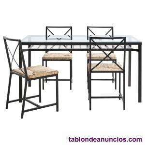 Mesa de comedor hierro y cristal con 6 sillas