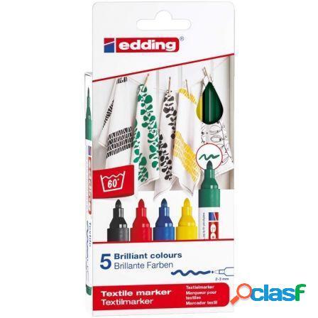 Estuche 5 marcadores textiles edding 4500/5s - punta redonda