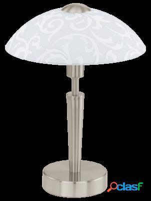 Wellindal Sobremesa 1 luz níquel satén y vidrio, Blanco