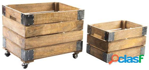 Wellindal Set de 2 cajas Mango Hierro
