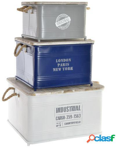 Wellindal Set de 3 cajas Metal Madera