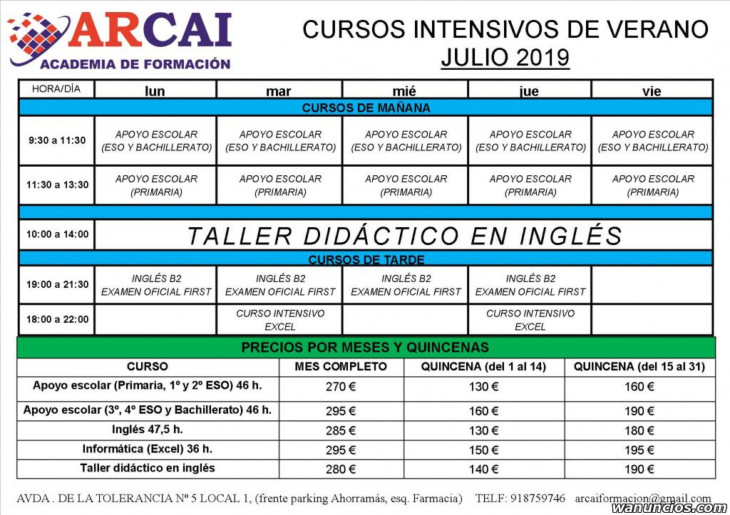 Campamento de verano y cursos intensivos en Julio - Madrid
