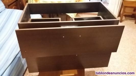 Mueble de lavabo con encimera de cristal
