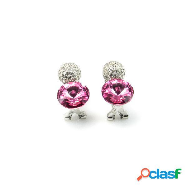 Pendientes de plata con cierre omega y circonitas rosa y