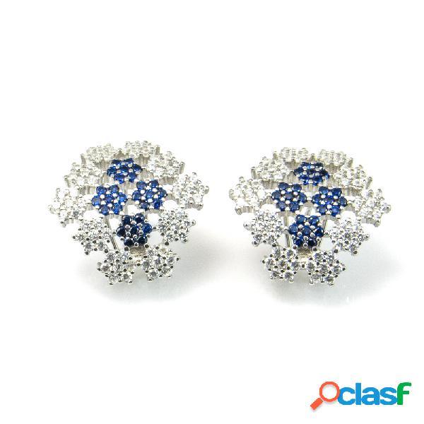 Pendientes de plata con circonitas blancas y azules cierre