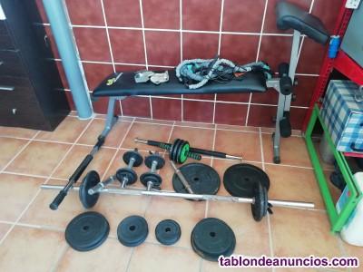 Conjunto de pesas y banco de abdominales