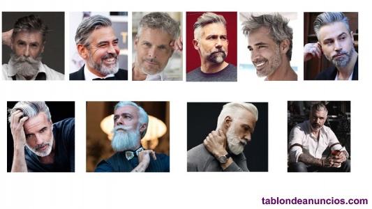 Modelo peluqueria, hombres canas