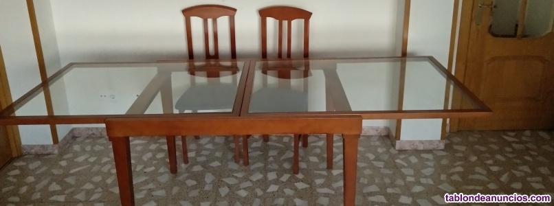 Mesa comedor madera y crista barata