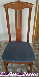 Silla madera con asiento azul barata