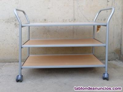 Carro de chapa y madera 3 estantes 120cm