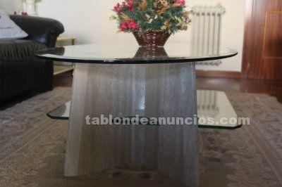 Mesa sobremesa cristal y marmol