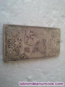 Precioso lingote de plata tibetana. Simbología la rata.