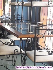Mesa de madera y forja para terraza,porche o azotea