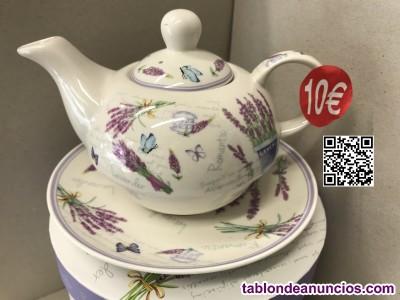 Tetera con taza y plato en porcelana decorada 400 ml