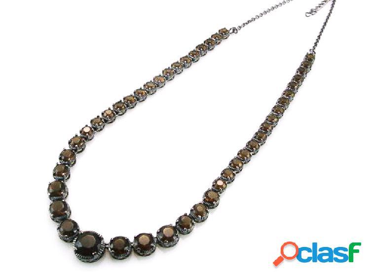 Collar de plata y rodio negro con circonitas coffee