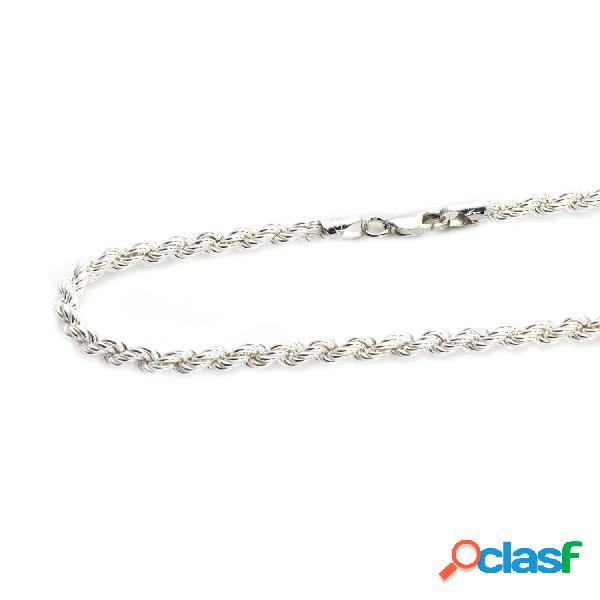 Cordon de plata de ley salomónico 60 cm. hueco 5 mm.