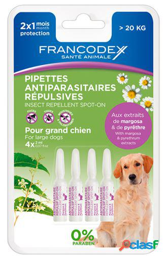 Francodex Pipetas Repelente Perro + 20 Kg 4 Pipetas