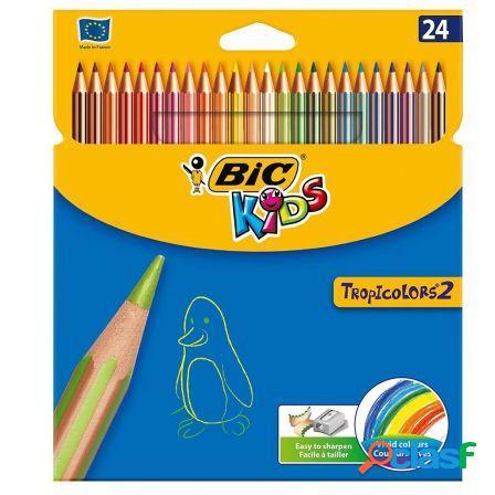Lapices de colores tropicolors 2 bic kids - caja 24 unidades
