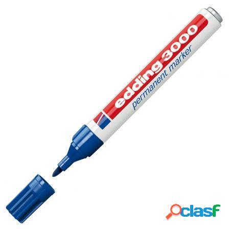 Marcador permanente punta redonda 1,5-3 mm azul edding 3000