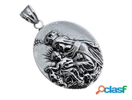 Medalla en plata de ley virgen del carmen relieve