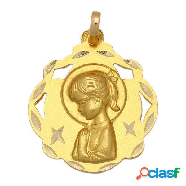 Medalla virgen niña de oro de 18 kl. 20 x 23 mm.