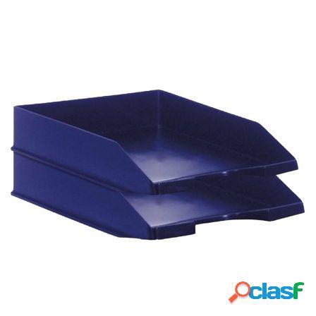 Pack 2 bandejas apilables - fondo liso - azul - 350x258x65
