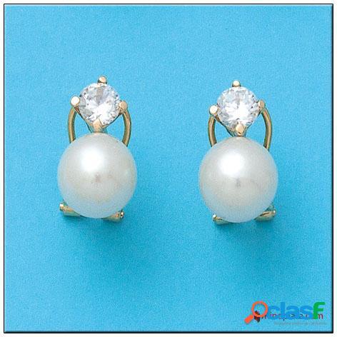 Pendientes de oro 18 kl. y perlas cultivadas