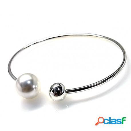 Pulsera de plata rígida con perla y bola