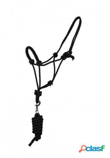 QHP Cabezada de Cuerda con ramal negro pony