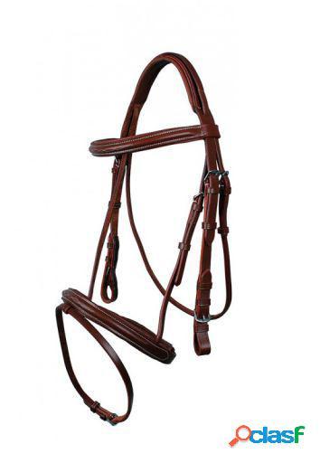 QHP Cabezada luxury cosida marrón oscuro pony