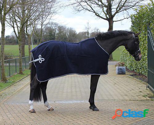 QHP Manta de lana con adorno azul / plata 185 cm