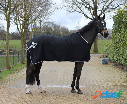 QHP Manta de lana con adorno negro / plata 215 cm