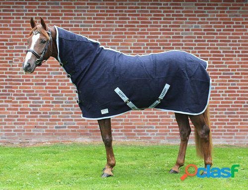 QHP Manta de lana con cuello azul 195 cm