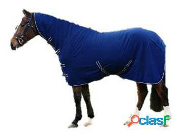 QHP Manta lana básica con cuello azul 145 cm