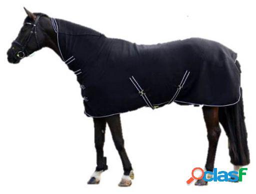 QHP Manta lana básica con cuello negro 145 cm