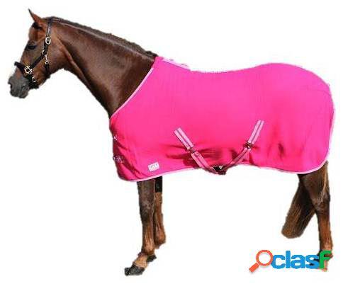 QHP Manta lana color con cinchas cruzadas fucsia 105 cm