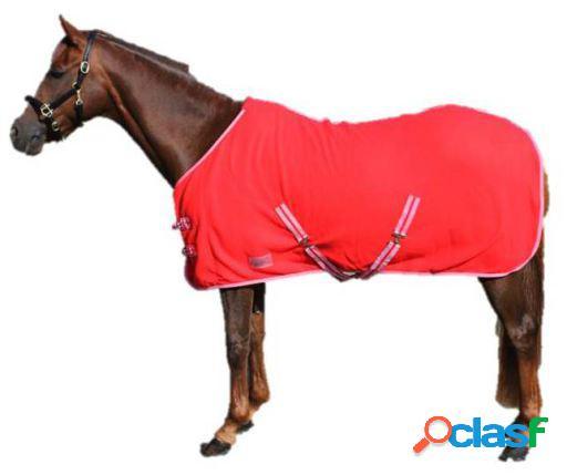 QHP Manta lana color con cinchas cruzadas rojo brillante 105