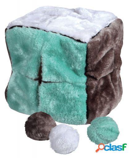 Trixie Cubo peluche con 4 pelotas peluche, 21 cm