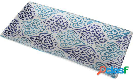 Wellindal Centro de mesa cerámica rectangular azul decorado