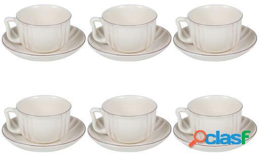 Wellindal Juego 6 tazas de té con plato